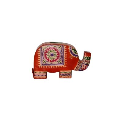 Leder-Spardose Elefant , orange